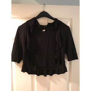 White House Black Market, Short, Ruffle Cardigan